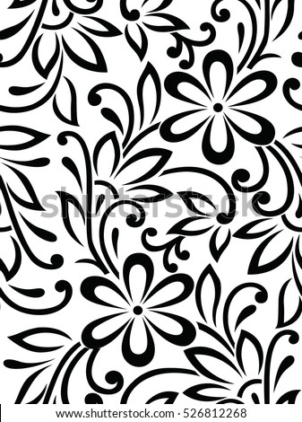 seamless textile black white floral pattern stock vector 526812268 rh shutterstock com floral vector pattern design vector floral patterns illustrator