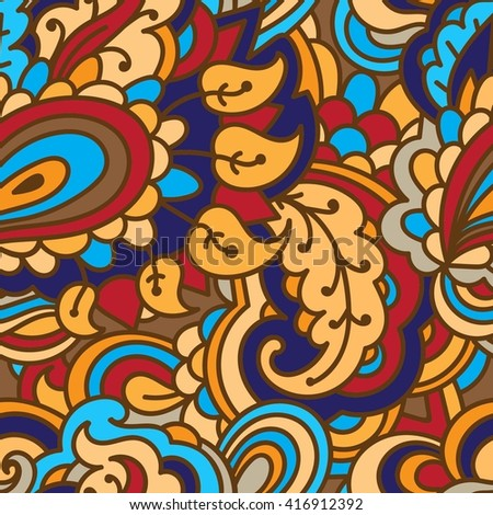 Seamless textile pattern. Bright, positive abstract pattern. Floral colorful pattern. Trendy abstract design for women. Floral ornament contrasting blue and red colors. - stock vector