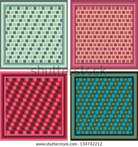 Seamless textile pattern set - stock vector