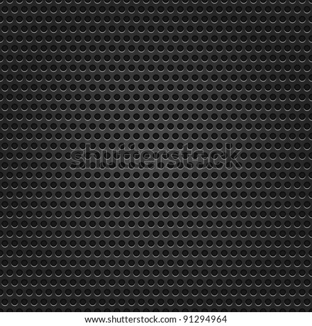 Seamless texture black metal surface dotted perforated background - stock vector