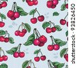 seamless texture - bright cherry fruit vector. Cherries fruit  - seamless vector pattern - stock photo