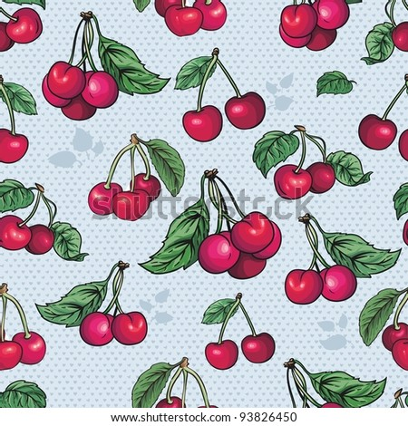 seamless texture - bright cherry fruit vector. Cherries fruit  - seamless vector pattern - stock vector