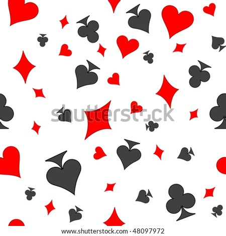 Seamless texture depicting the chaotic characters in suits of playing cards - stock vector