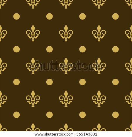 Seamless texture fleur-de-lis, fleur de lis painted in gold color on a gray background, background for printing on fabric, wallpaper, fully editable vector images - stock vector