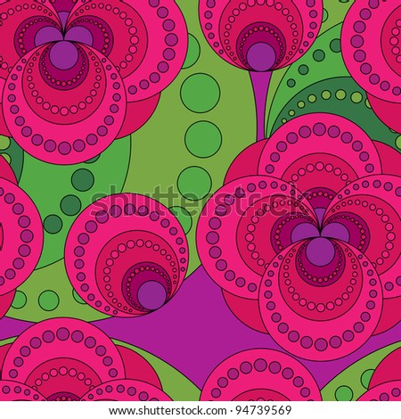 Seamless texture from abstract flowers - stock vector