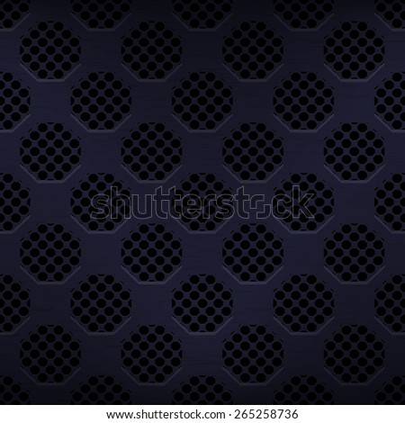 Seamless texture gray metal surface dotted octagon perforated background, 10eps. - stock vector