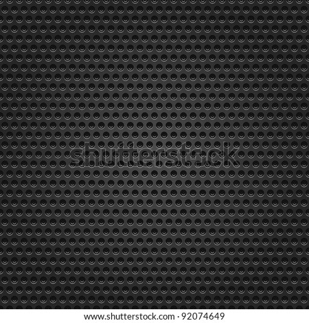 Seamless texture metal surface dotted perforated black background - stock vector