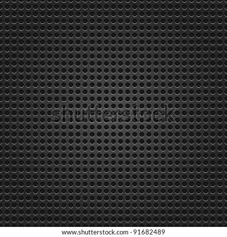 Seamless texture metal surface dotted perforated dark black background - stock vector