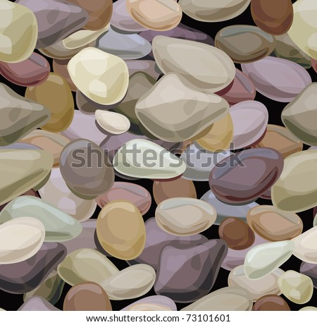 Seamless texture of   colorful pebble stones. - stock vector