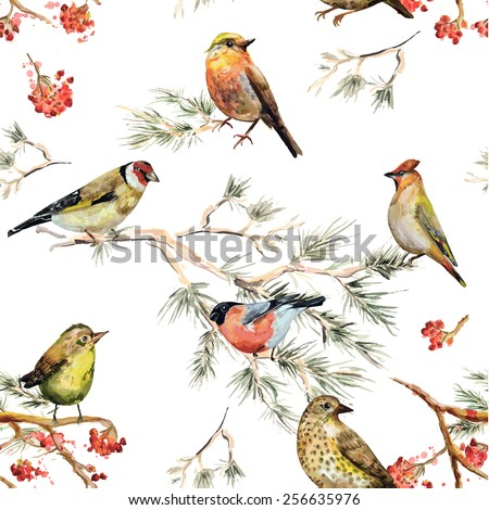 seamless texture of forest birds. watercolor painting - stock vector
