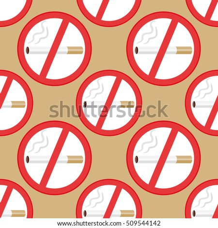Seamless Texture Of No Smoking Signs Isolated On Gold Background Wallpaper