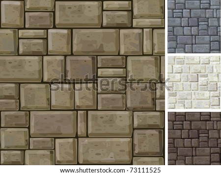 Seamless texture of stonewall  in different colors. - stock vector