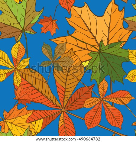 Seamless texture of the leaves of the chestnut and maple
