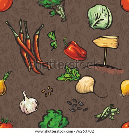 Seamless texture of Vegetables and leaves. texture of - stock vector