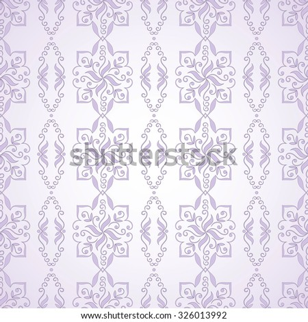Seamless texture on light purple.  Element for design. Ornamental backdrop. Pattern fill. Ornate floral decor for wallpaper. Traditional decor on  light purple background. - stock vector