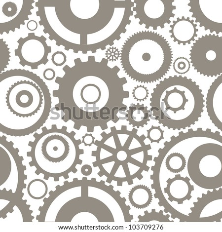 Seamless texture or different gear wheels - stock vector
