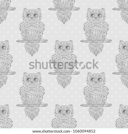Seamless Texture Owl Design Zentangle Zen Art Dotted Pattern Geometric Background
