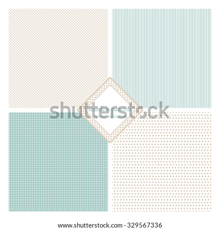 Seamless texture pack simple classic version. Points, lines, squares. Vector illustration. Simple design - stock vector