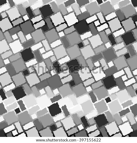 Seamless texture pattern with uncolored rugged tiles - stock vector