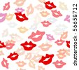 Seamless texture with a lot of color lips prints. - stock vector