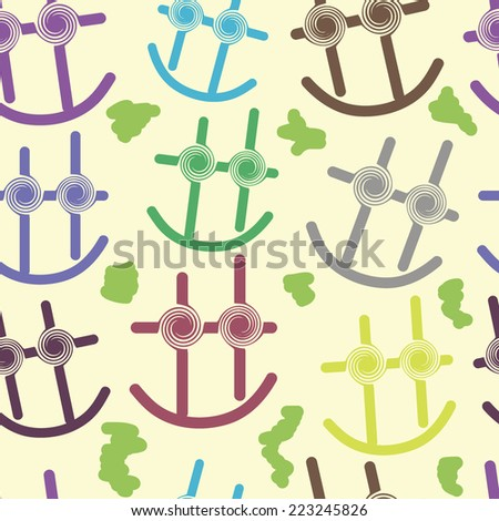 Seamless texture with abstract multi-colored smiles and a scribble - stock vector