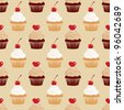 Seamless texture with cakes pattern. - stock vector