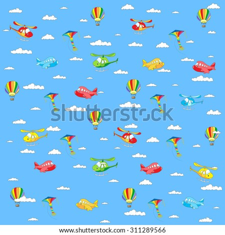 Seamless texture with cartoon transport. Helicopter, aircraft, balloon and kite in cloudy sky. Vector colorful background - stock vector