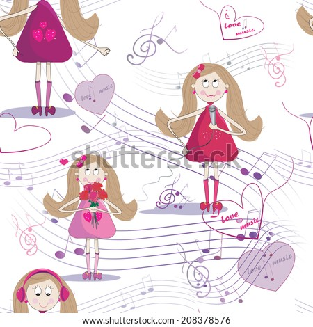 Seamless texture with cute girl, who sing a song, listen to the music.  White background with notes.  - stock vector