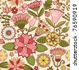 Seamless texture with flowers and butterflies. Endless floral pattern. - stock vector