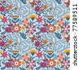 Seamless texture with flowers and butterflies. Endless floral pattern - stock vector