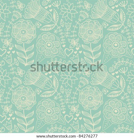 Seamless texture with flowers and butterflies. Endless floral pattern. Seamless pattern can be used for wallpaper, pattern fills, web page background, surface textures. - stock vector