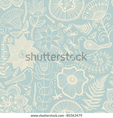 Seamless texture with flowers and pigeons. Endless floral pattern