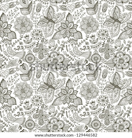 Seamless texture with flowers, birds and butterflies. Seamless pattern can be used for wallpaper, pattern fills, web page background,surface textures. Gorgeous seamless floral background - stock vector