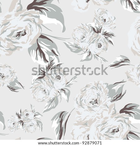Seamless texture with flowers.  Endless floral pattern.  Vector background for textile design in vintage style - stock vector
