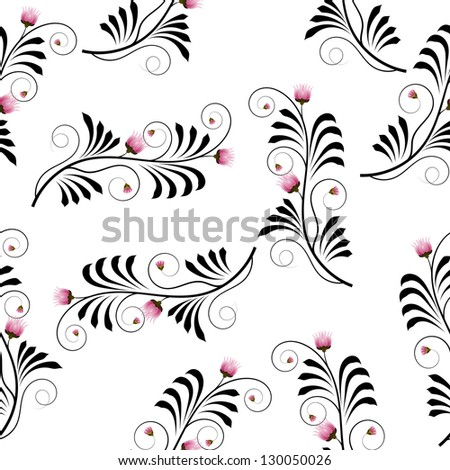 Seamless texture with flowers thistle - stock vector