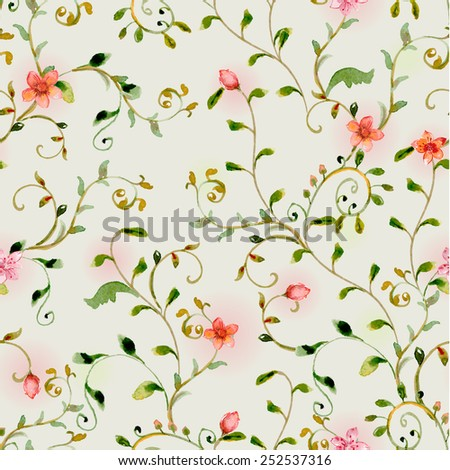 seamless texture with foliate ornament and flowers. watercolor painting - stock vector