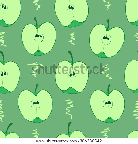 Seamless texture with halves of green apples - stock vector