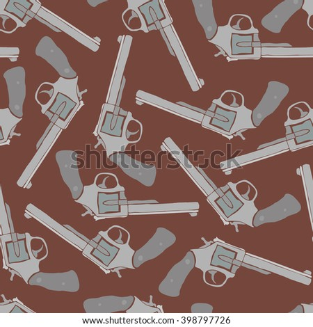 Seamless texture with hand-drawn revolvers on brown background