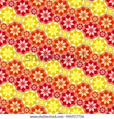 Seamless texture with hot colored circles and tiles - stock vector