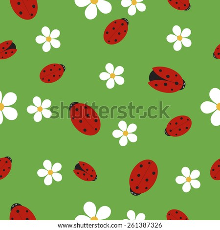Seamless texture with ladybugs on green grass with white flowers - stock vector