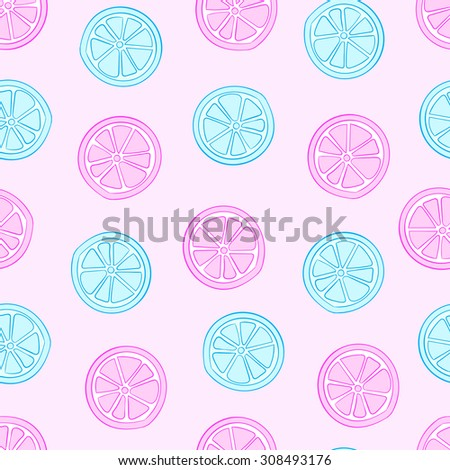 Seamless texture with pink and blue citrus fruit - stock vector