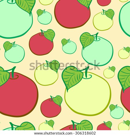 Seamless texture with red yellow and green apples - stock vector