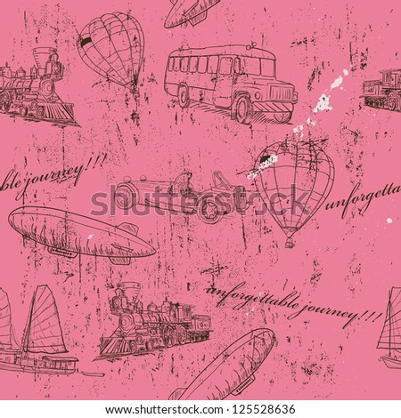 Seamless texture with set of vintage transport. Vector illustration EPS8 - stock vector