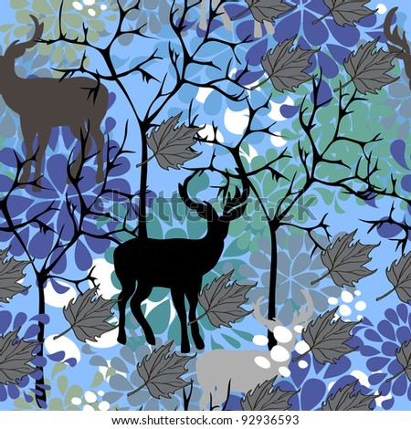 Seamless texture with trees and deers - stock vector