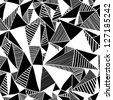 Seamless texture with triangles, mosaic endless pattern. Black and white. - stock vector