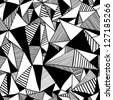 Seamless texture with triangles, mosaic endless pattern. Black and white. - stock photo