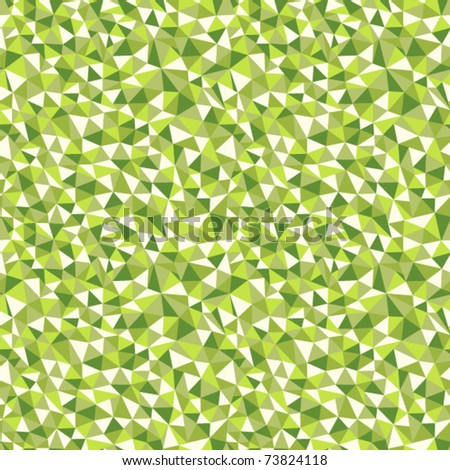 Seamless texture with triangles, mosaic endless pattern in green - stock vector