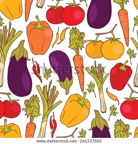 seamless texture with vegetables, healthy food background, vector illustration