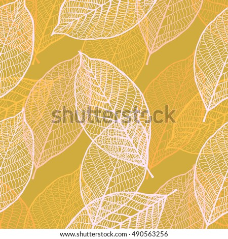 Seamless texture with vintage ornamental leaves. Vector pattern