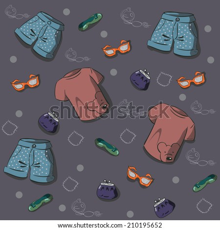 seamless texture with women's clothing and accessories - stock vector